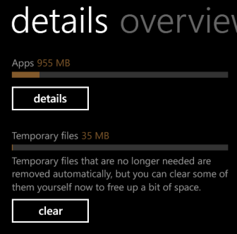 windows phone 8 storage detail