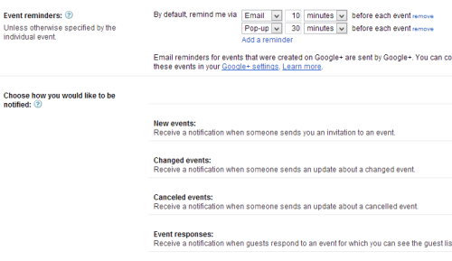 Change Google Calendar reminder time notification