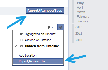 facebook report or remove tags
