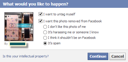 facebook untag a photo report spam