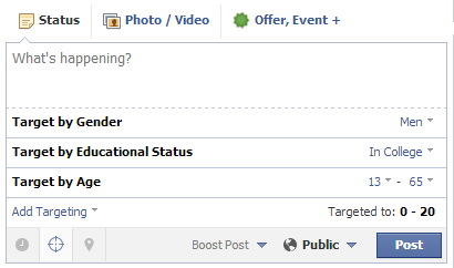 facebook page add targeting options