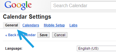 google calendar general settings