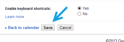 google calendar save settings