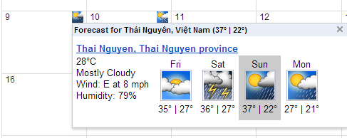 google calendar weather information