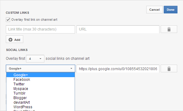 add custom social links to youtube channel