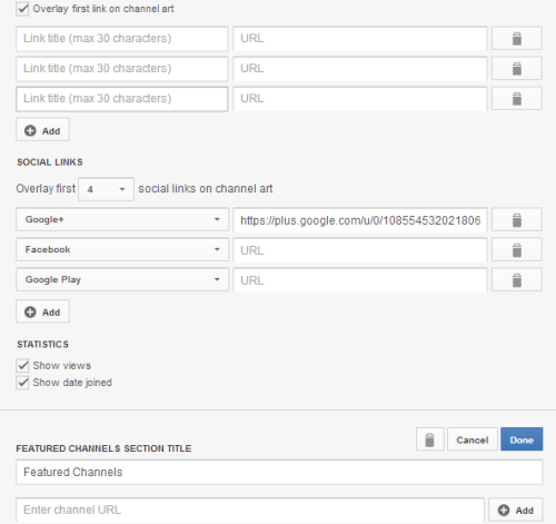 add more custom social links to youtube channel