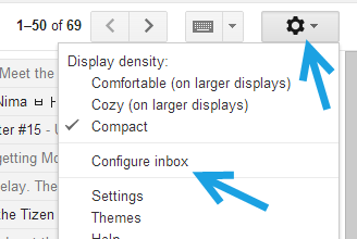 gmail configure inbox settings