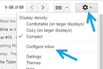 gmail configure inbox settings
