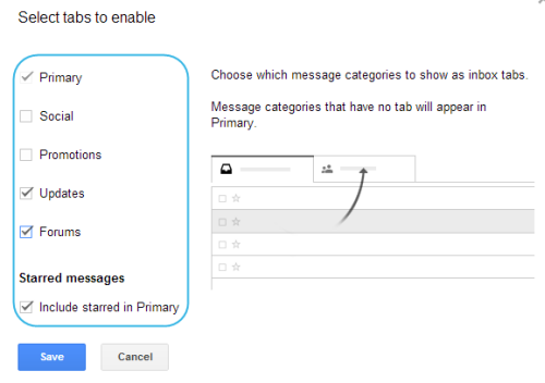 select tabs to enable in gmail