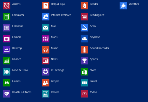windows 8.1 app list blue theme