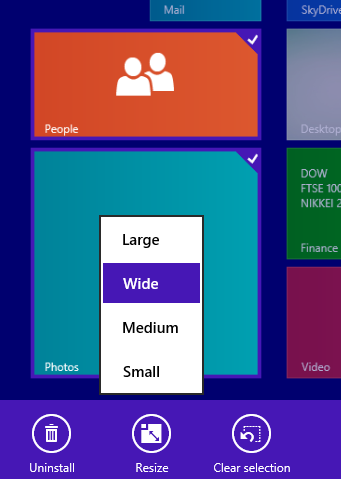 windows 8.1 tile size