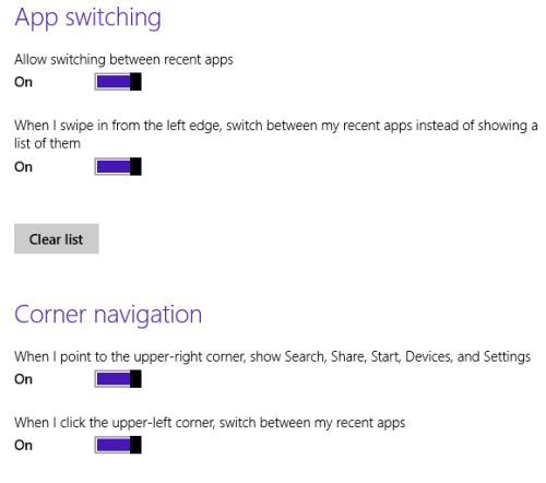 windows 8.1 app switching and corner navigation
