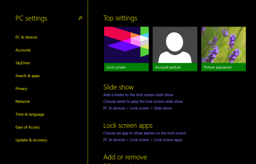 windows 8.1 pc settings in high contrast theme