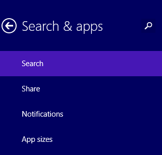 windows 8.1 search and apps