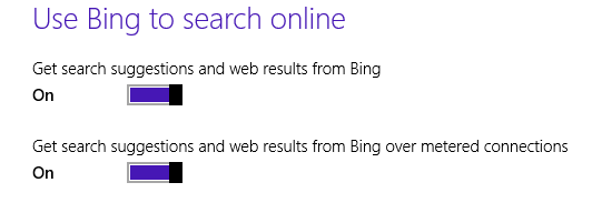 windows 8.1 use Bing to search online