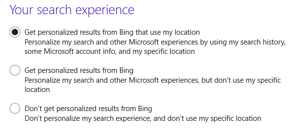 windows 8.1 personalize search result