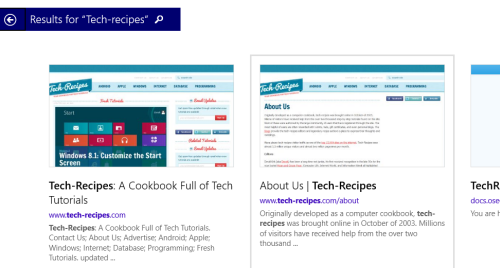 windows 8.1 online search result with bing