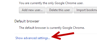 google chrome show advanced settings