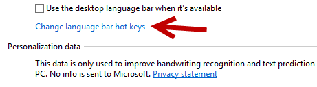 windows 8 change language bar hot keys