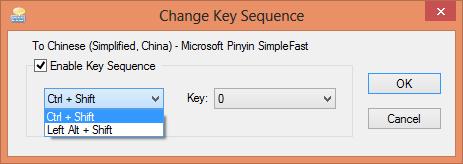 change input shortcut key sequence