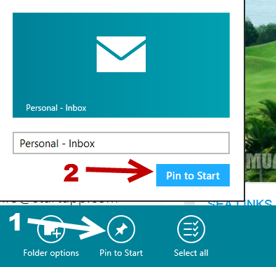 windows 8 mail box pin to start