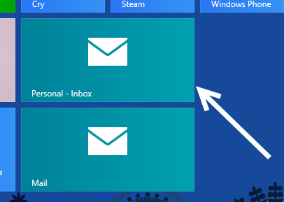 windows 8 pinned mail box