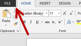 word 2013 file menu