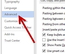 word 2013 advanced settings