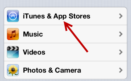 iTunes and App Stores settings