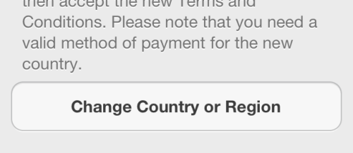 change country or region in iOS