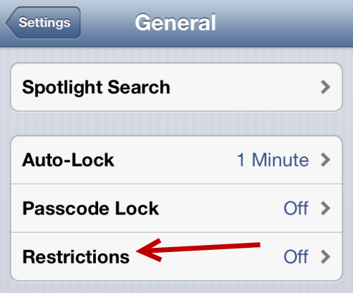 ios restrictions settings