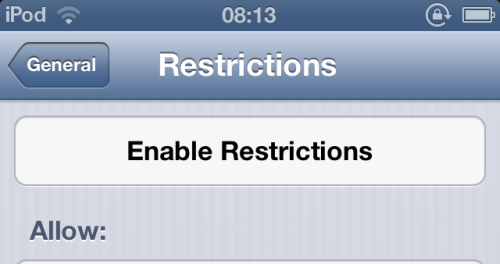 enable restrictions in ios
