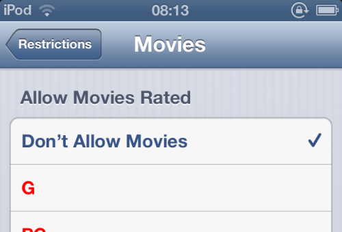 hide movies in iOS