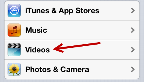 iOS Videos Settings
