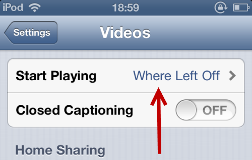 change start playing setting in iOS