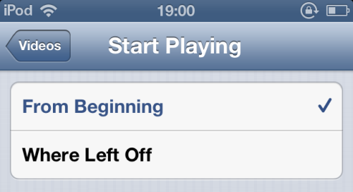 start playing iOS video from beginning or where left off