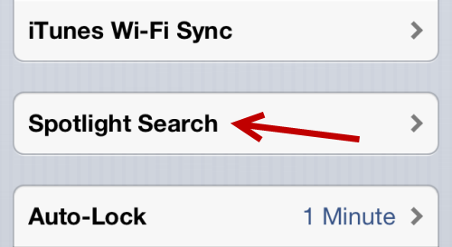 iOS Spotlight Search Settings