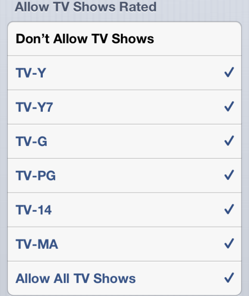 hide TV Shows in iOS