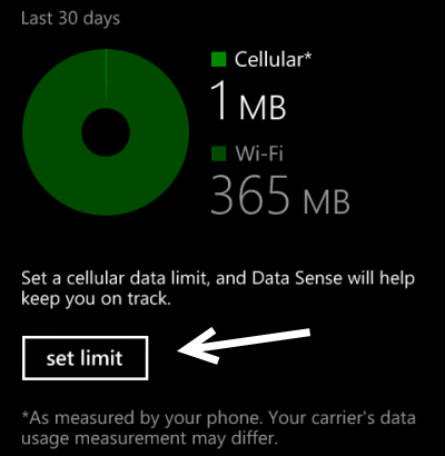 windows phone 8 set data plan limit