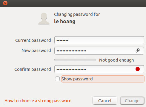 ubuntu change user account password