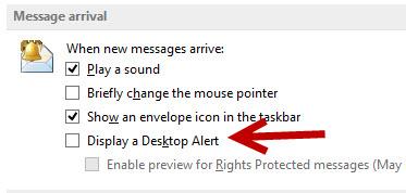 disable outlook notification desktop alert