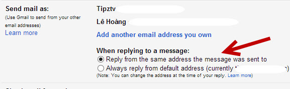 Set Gmail to switch address when replying