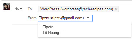 Change replying address manually in Gmail