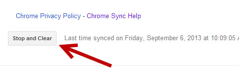 stop and clear google chrome sync data