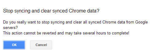 confirm delete google chrome sync data