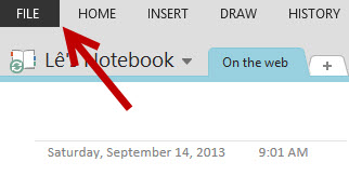 onenote access backstage view