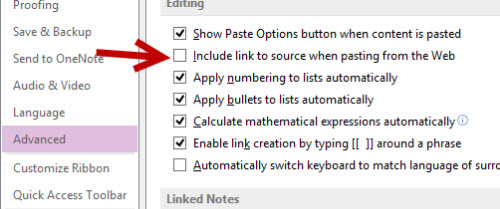 onenote advanced option remove link to source when pasting from web