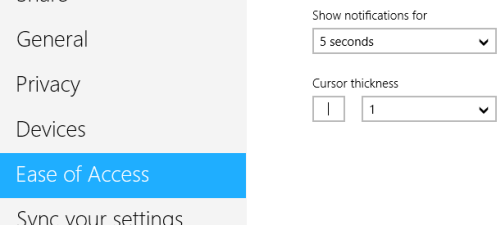 windows 8 ease of access show notification for