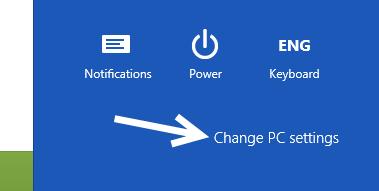 windows 8 change pc settings