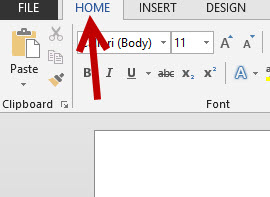 word 2013 home tab